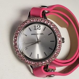 Origami Owl  Pink Twist Face Watch with 2 faces